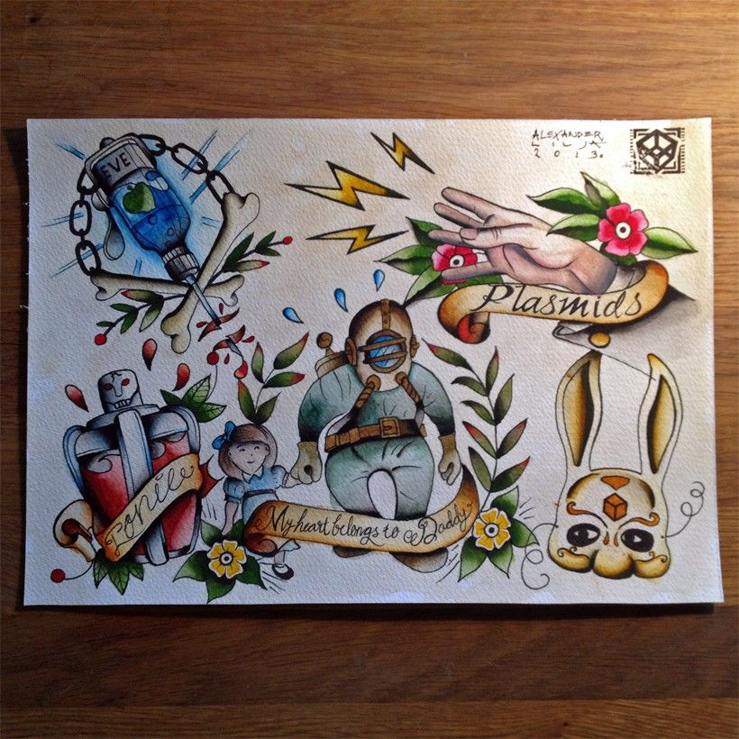 Small Simple Bioshock Tattoo Designs (45)