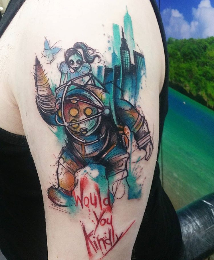 Small Simple Bioshock Tattoo Designs (73)