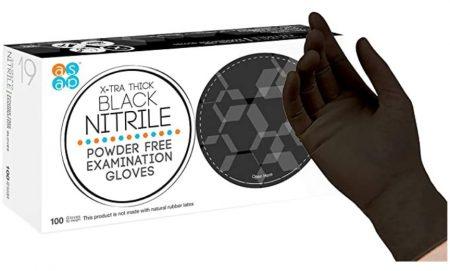 ASAP Black Nitrile Powder Free Examination Gloves