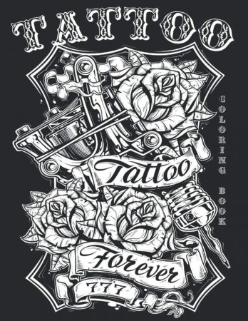 Tattoo Coloring Book 50 ART Designs Tattoo Stress Relief Coloring Book For Grown Ups