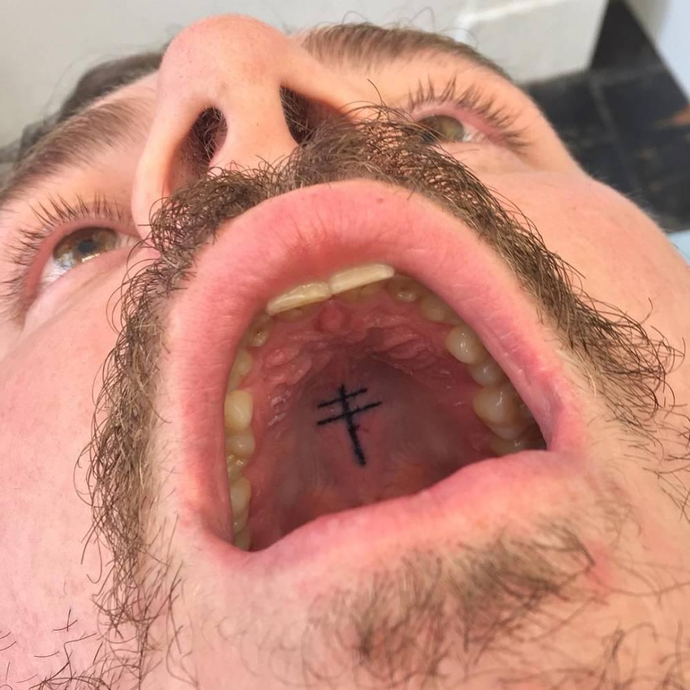 1 Post Malone Ctross Tattoo Inside Mouth