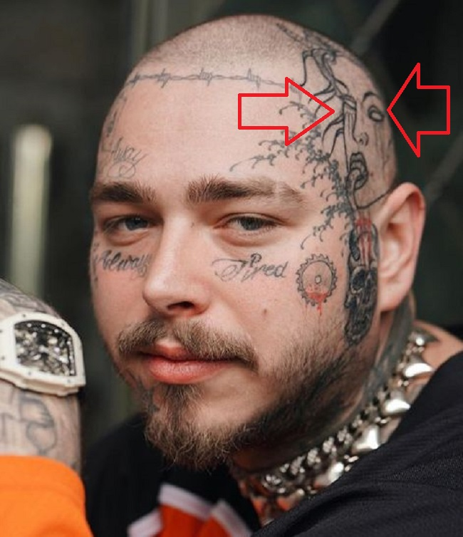 64 Post Malone Tattoo Head