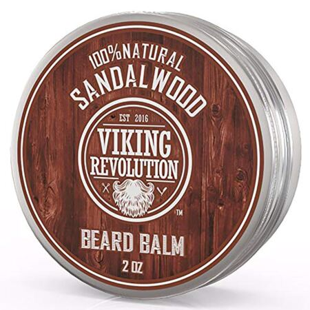 Beard Balm With Sandalwood Scent And Argan & Jojoba Oils Leave In Conditioner Wax For Men By Viking Revolution (1 Pack)