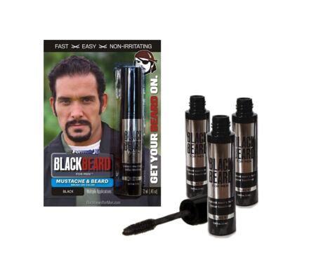 Blackbeard For Men Formula X Instant Mustache, Beard, Eyebrow, And Sideburns ColorFast, Easy, Men's Grooming, Beard Dye Alternative, Black, 3 Pack
