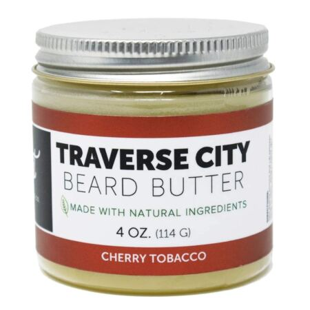 Detroit Grooming Co. Beard Butter Traverse City Cherry Tobacco Scent For Men Strong Hold Beard Balm For Best Styling (4oz)