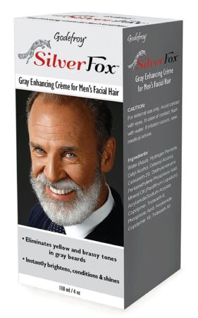 Godefroy Silver Fox Men's Silver And Gray Beard Brightener For Caucasian Hair Types, 3 Fluid Ounce