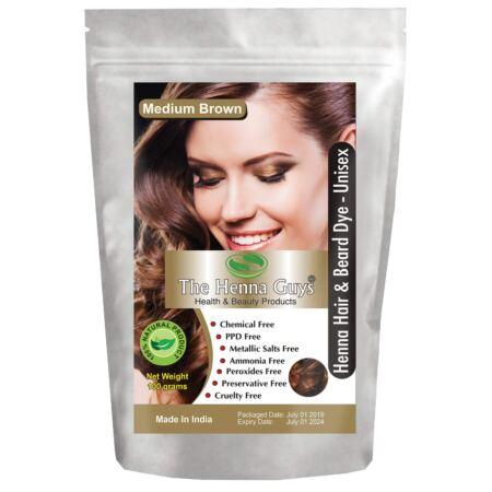 MEDIUM BROWN Henna Hair & Beard Color Dye 1 Pack The Henna Guys