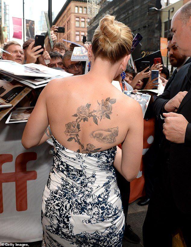Scarlett Johansson Rose Vine Tattoo