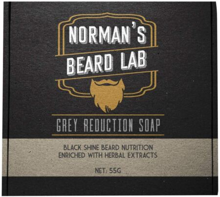 The Official Brand, Norman's Beard Lab, Grey Reduction Soap, Black Shine Beard Nutrition