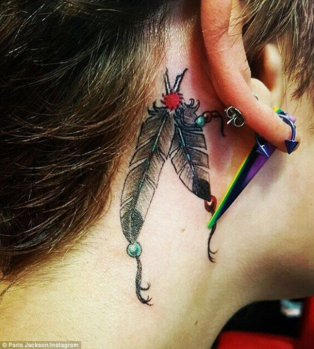 Paris Jackson Tattoos Feather