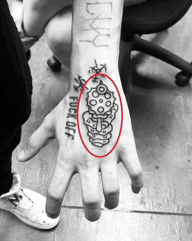 Lil Xan Tattoo Hand Gun