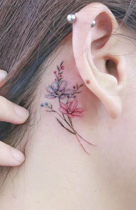 Behind The Ear Tattoos Designs 11