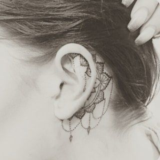 Behind The Ear Tattoos Designs 53