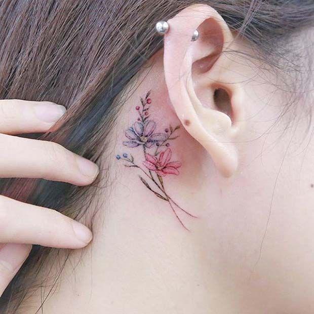 Behind The Ear Tattoos Designs 60