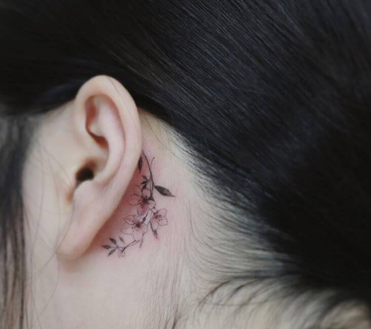 Behind The Ear Tattoos Designs 65