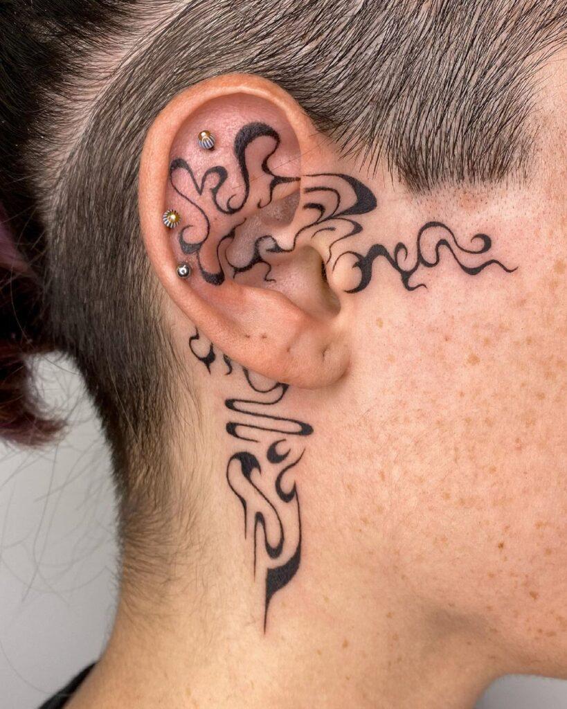 Behind The Ear Tattoo 111