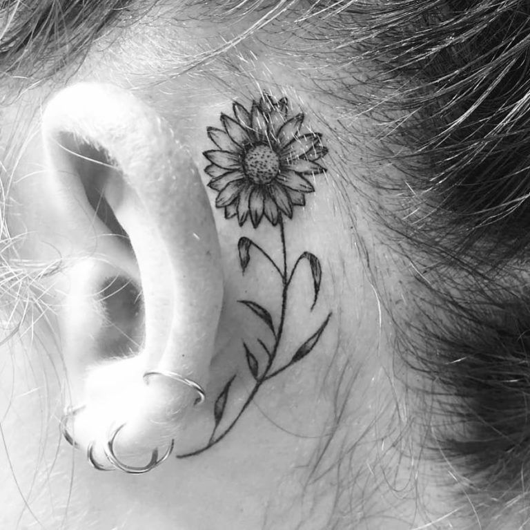 Behind The Ear Tattoo 55